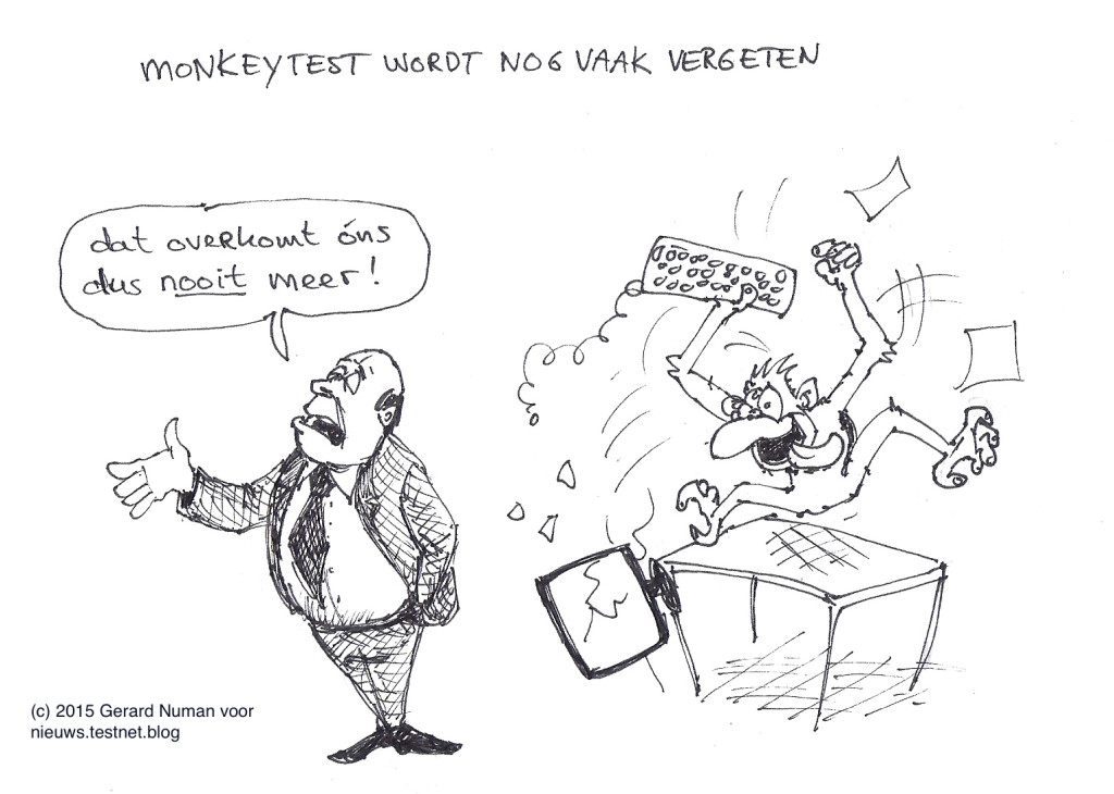 Cartoon: Monkey test wordt nog vaak vergeten